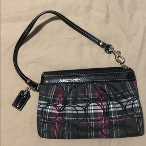 Small Coach wristlet in purple and black plaid